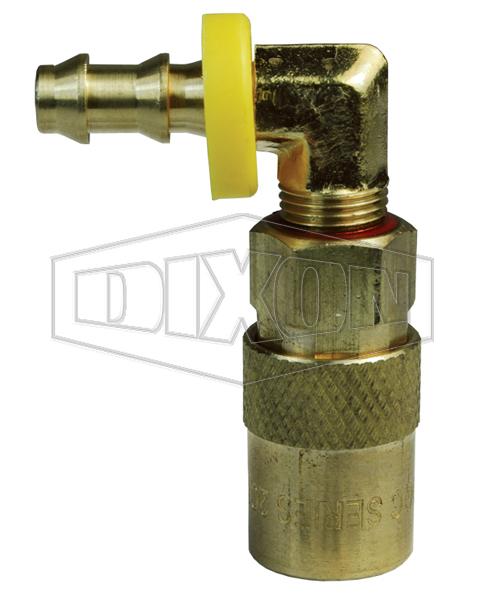 DQC CM-Series Industrial Mold Interchange Unvalved Coupler 90° Push-Loc Barb