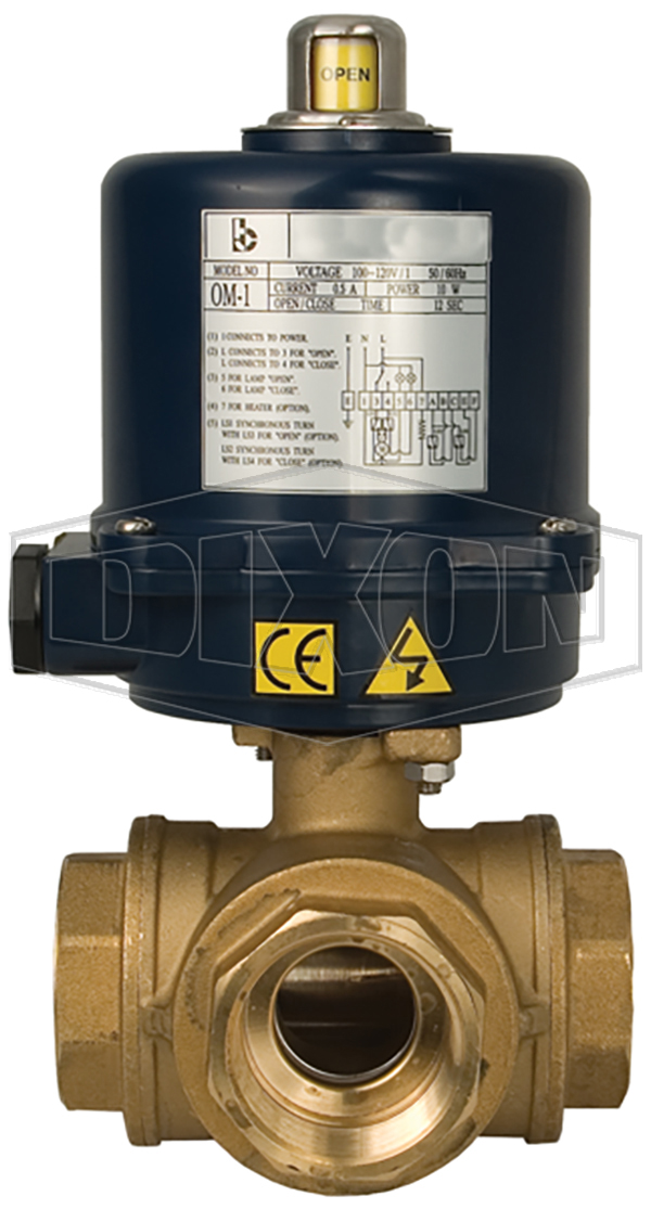 BV3BVL/TR Series Electrically Actuated Brass 3-Way Ball Valves