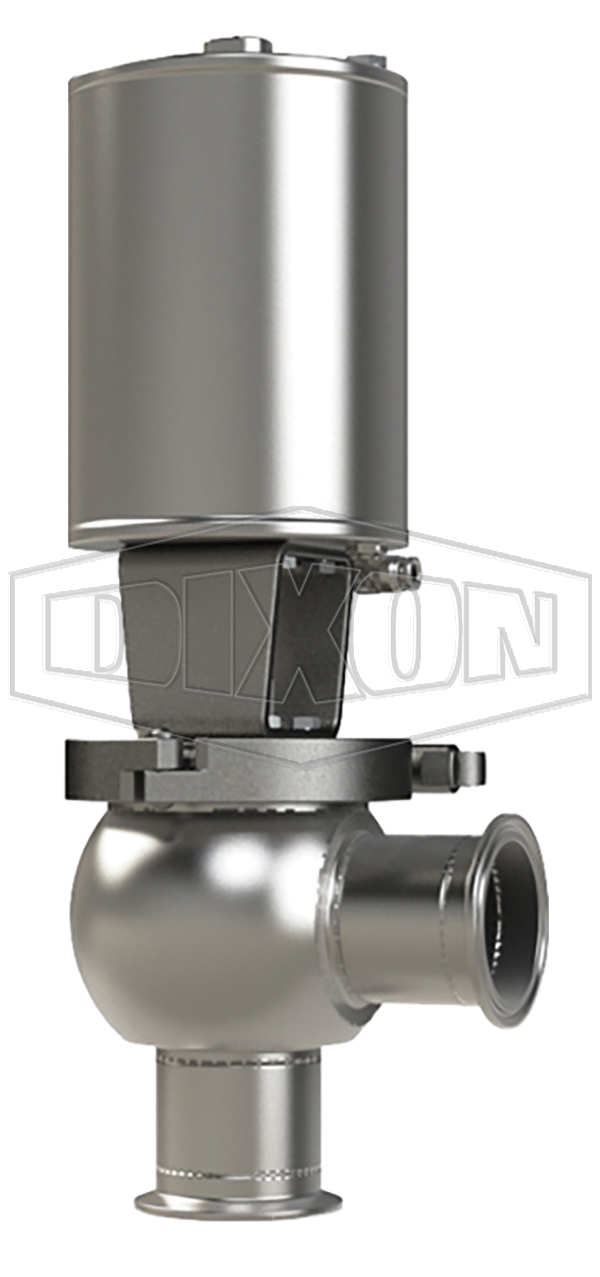 SSV Series Single Seat Valve, Shut-Off L Body, Clamp, Spring Return Actuator (Air-To-Lower)