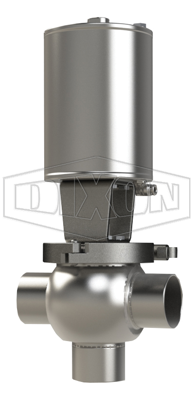 SSV Series Single Seat Valve, Shut-Off T Body, Weld, Spring Return Actuator (Air-To-Raise)